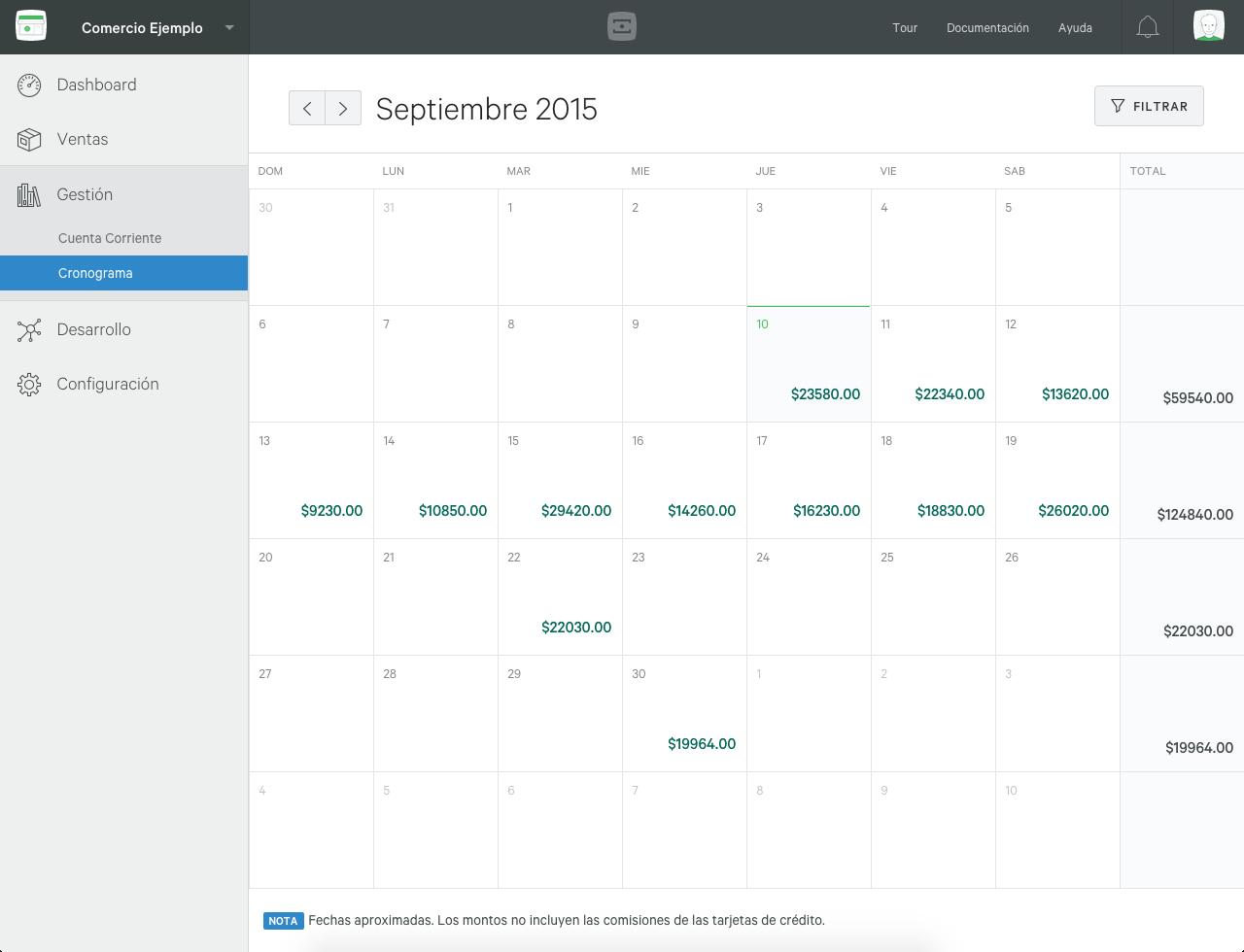 Calendario de Cobro